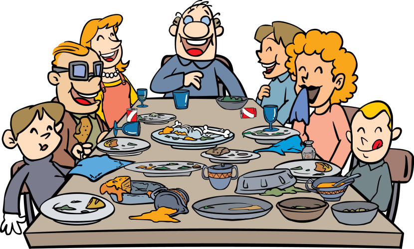 Cartoon Family Dinner Time