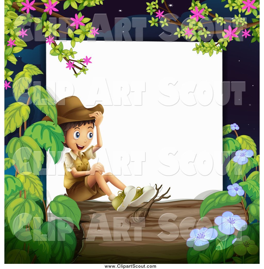 Clipart of a Happy Boy Explorer Sitting on a Log Border by ...