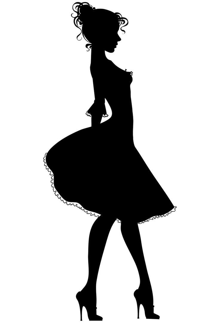 High Heel Dress Form Silhouette Clip Art Women Dress
