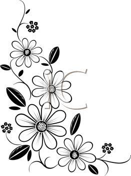 Black And White Flower Border Clipart Free Image 36310