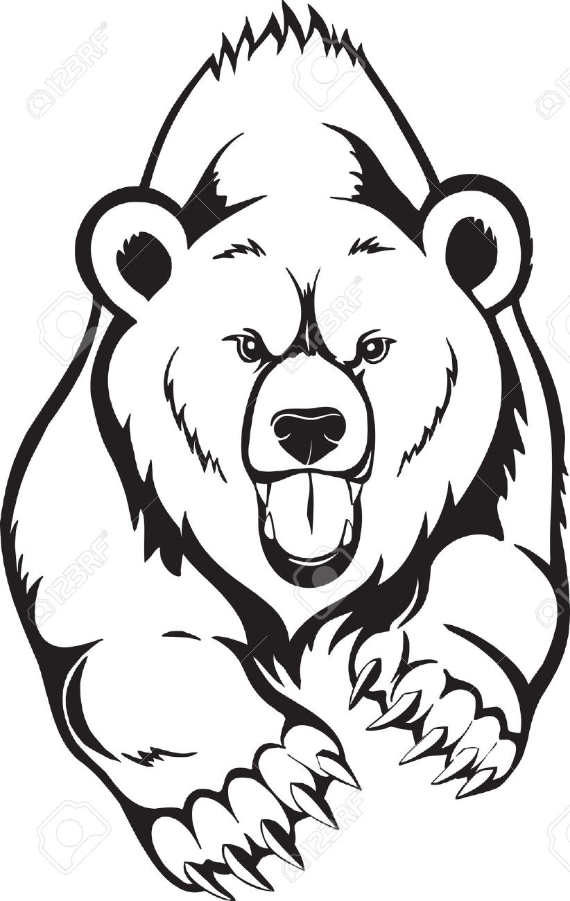 Clip Silhouette Bear Cub Art Black