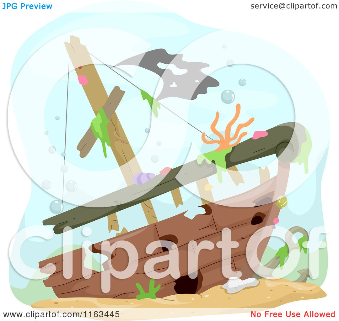 Sunken Art Ship Clip Black White And