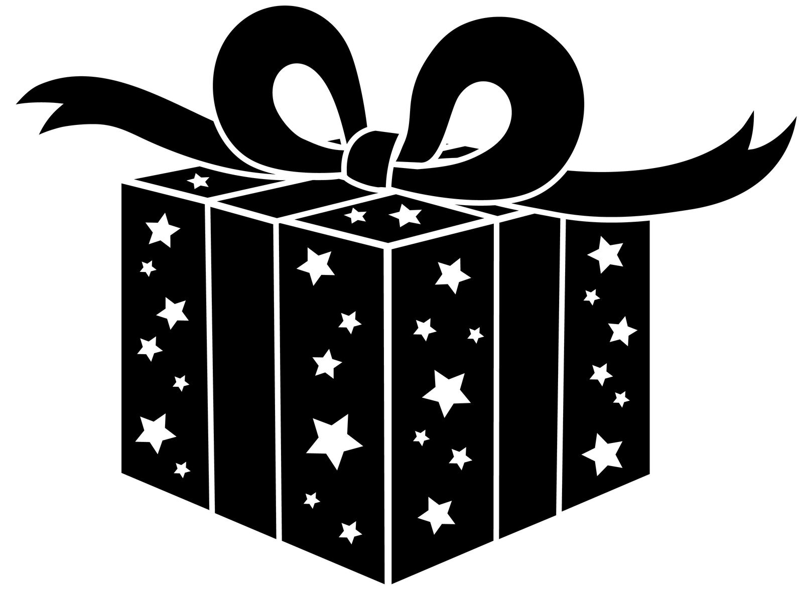 Silhouette Clipart Christmas Package Clipground