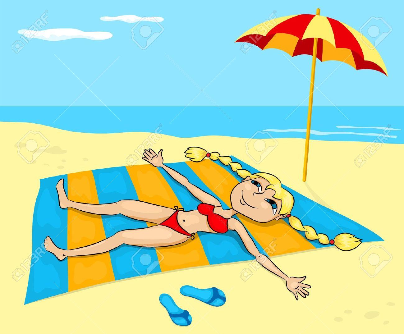 Chair Man Cartoon Beach