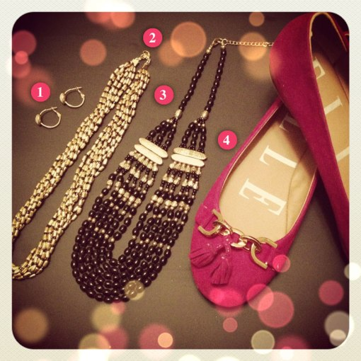 Gold Accents   Elle ballet flats from Kohl s  Forever21 Necklaces     1  Goldtone   white quartz hoop