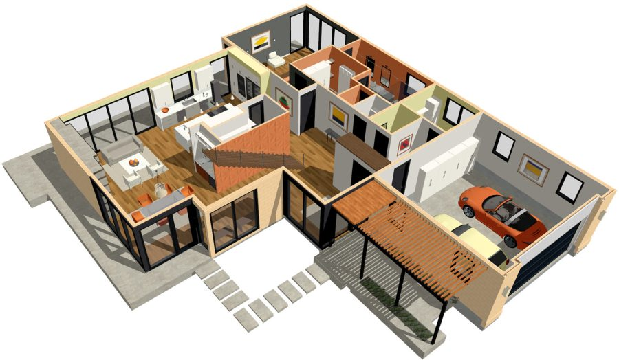 Home Designer Architectural Modern Home with 3D Dollhouse Overview
