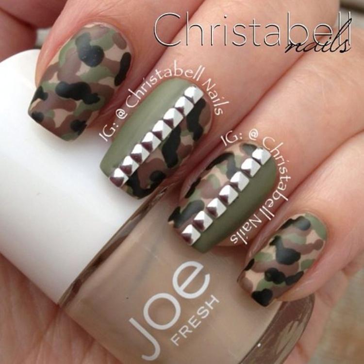Army Green Acrylic Nails