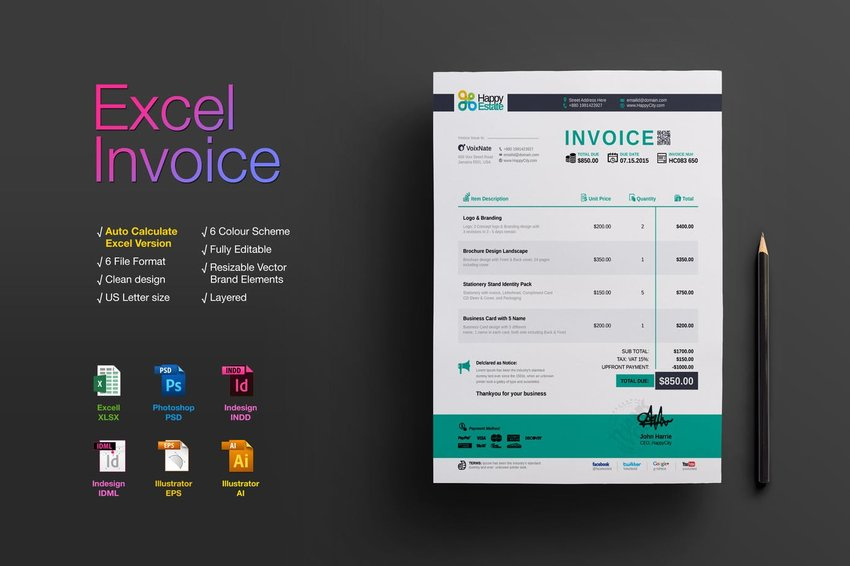 How to Create an Invoice in Excel Quickly  From a Template  Invoicing with Elements