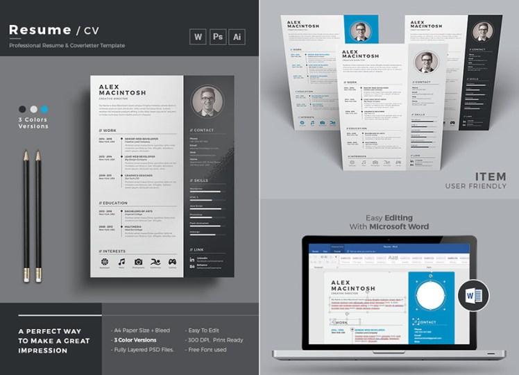 20  Professional MS Word Resume Templates With Simple Designs Simple Word Resume and Cover Letter Template