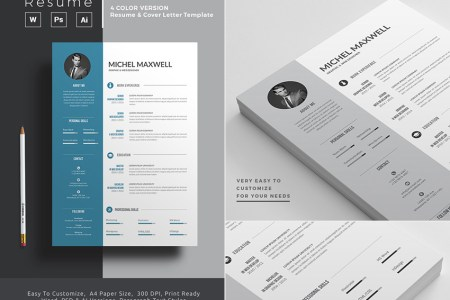 20  Professional MS Word Resume Templates With Simple Designs Microsoft Word Resume Template With 4 Color Versions
