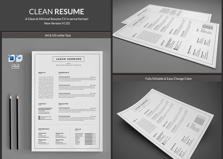 20  Professional MS Word Resume Templates With Simple Designs Minimal Simple Microsoft Word Resume Templates Professional
