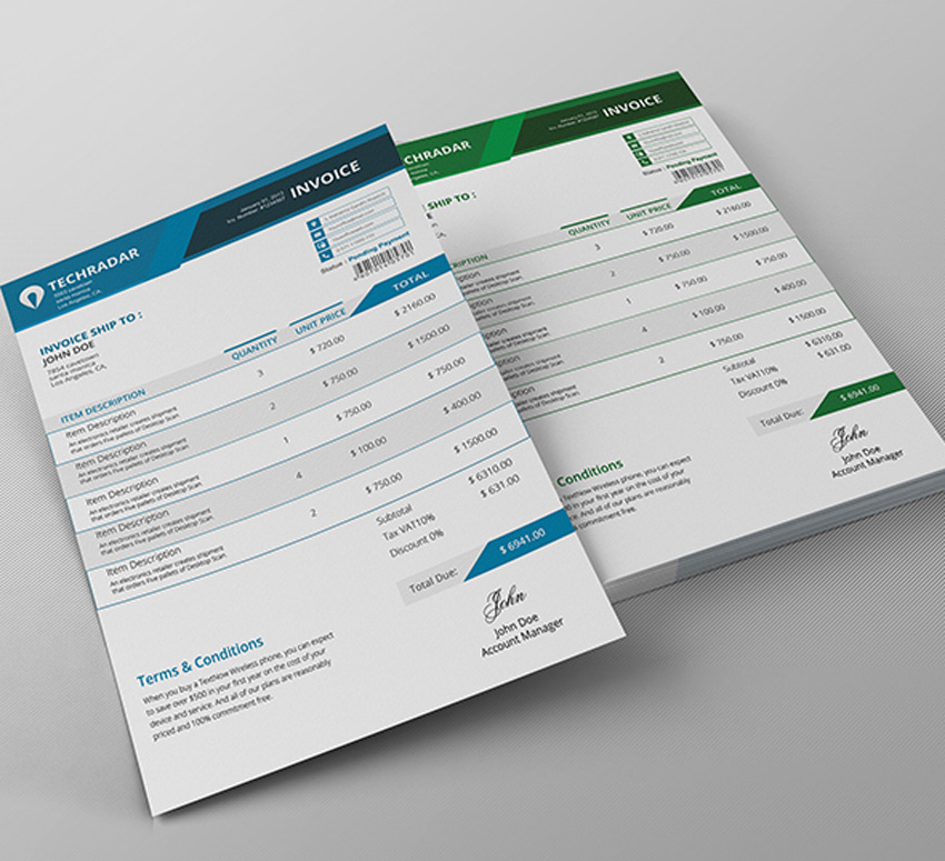 35 Invoice Templates for Corporations   Small Businesses Standard Invoice Template
