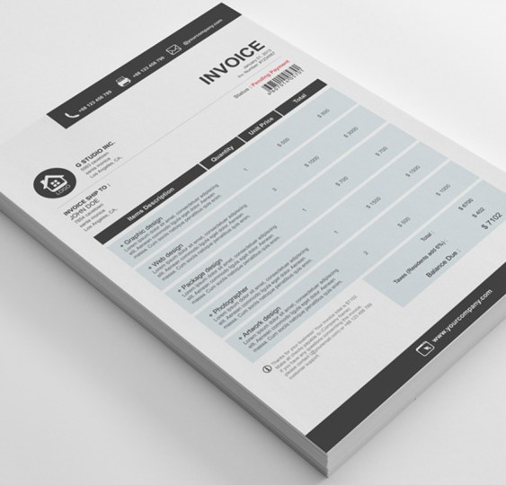 35 Invoice Templates for Corporations   Small Businesses Gstudio Clean Invoices Template