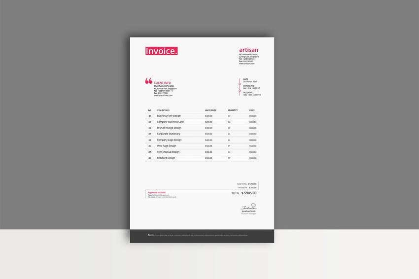 35 Invoice Templates for Corporations   Small Businesses This template features a well organized design with a few lines for item  details  contact information  and payment methods  It s available in nearly  any