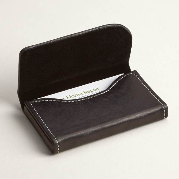 Personalized Business Card Holders   Cases   Vistaprint Black Leather Horizontal Business Card Holders