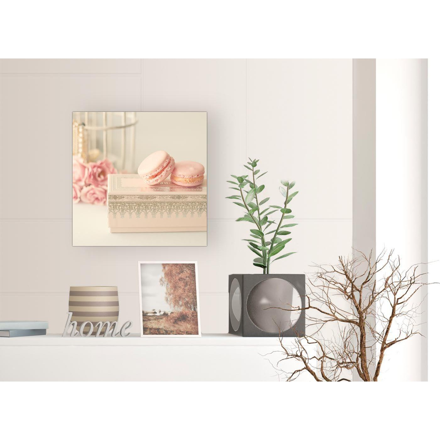 Pink Cream French Shabby Chic Bedroom Canvas Modern 49cm ...