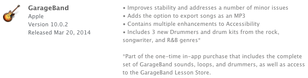 Photo of GarageBand 10.0.2, mp3 e in-apps
