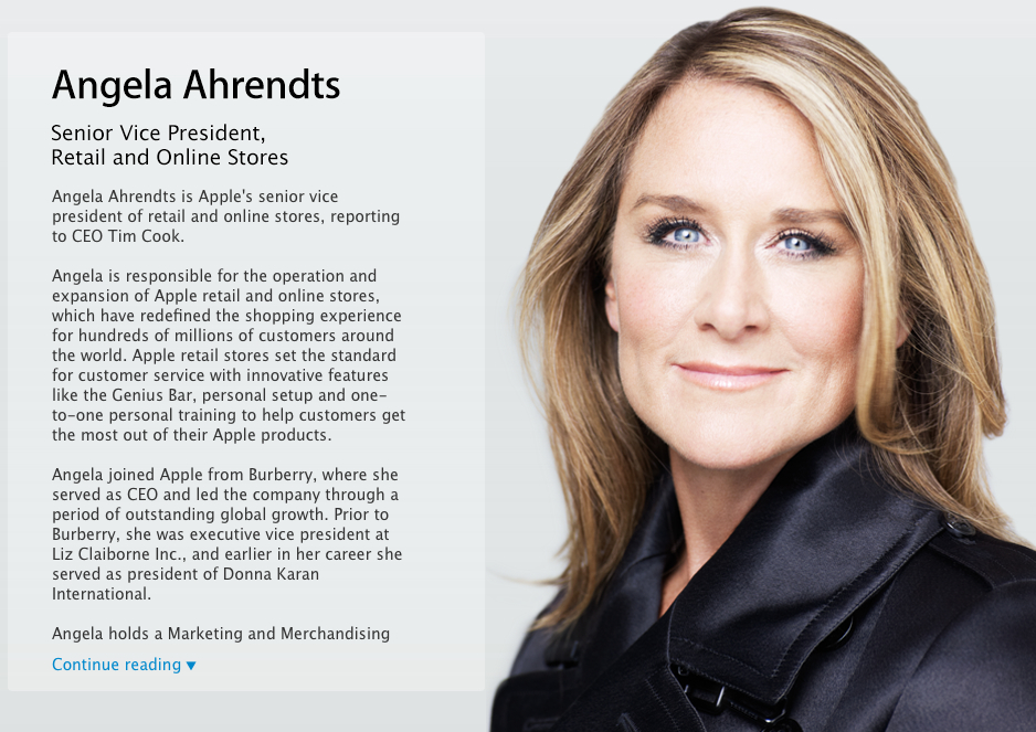 Photo of Angela Ahrendts assume como Senior Vice President  Retail and Online Stores