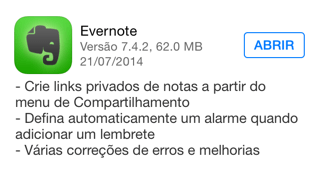 Photo of Evernote 7.4.2 para iOS na Área, links privados e alarme automático