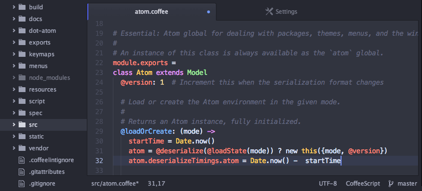 Photo of Atom, editor de texto hackeável para OS X