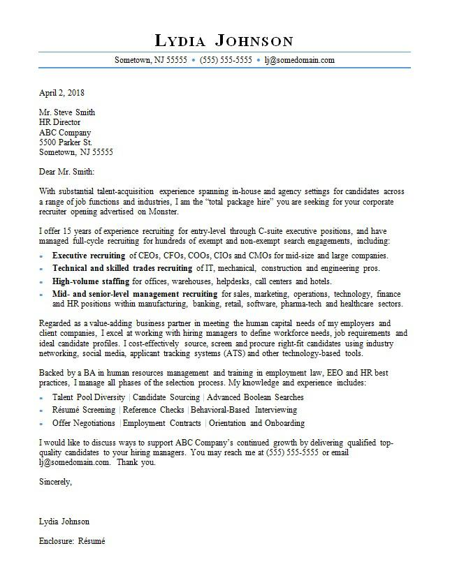 Example Cover Letter Recruiter Agency