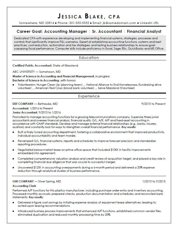 Curriculum Vitae Sample For Accountant