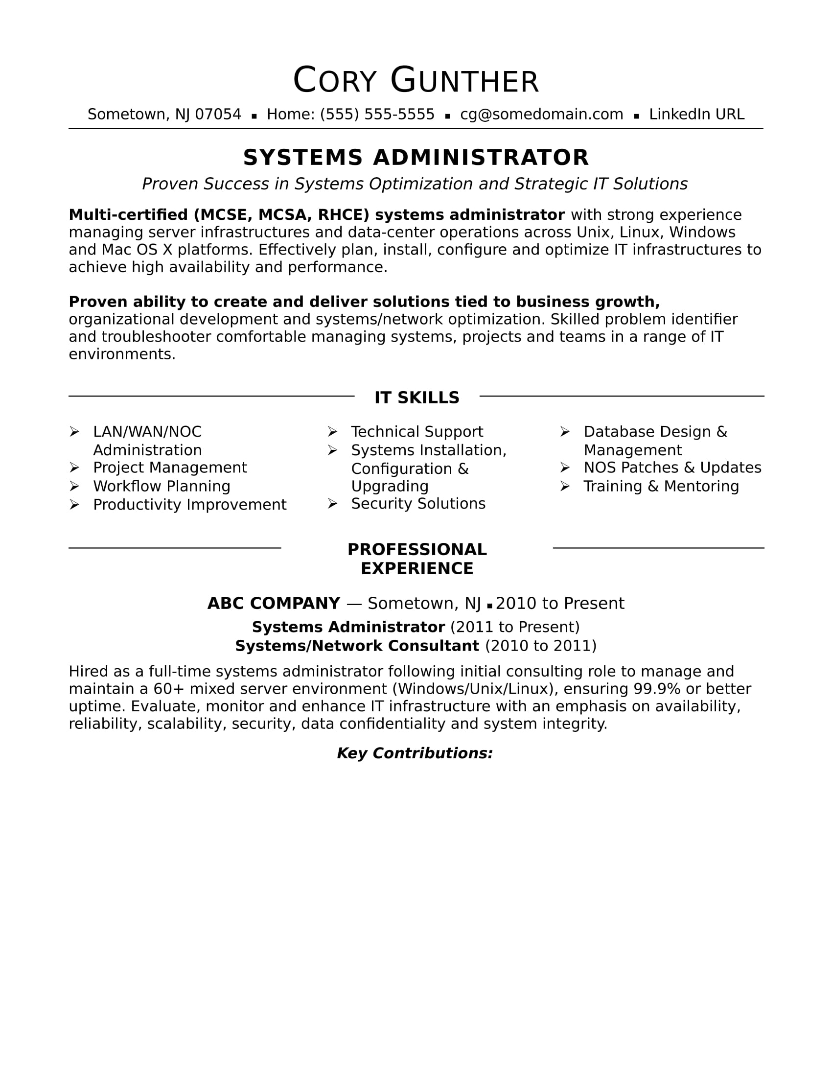 S Le Resume For An Experienced Systems Administrator