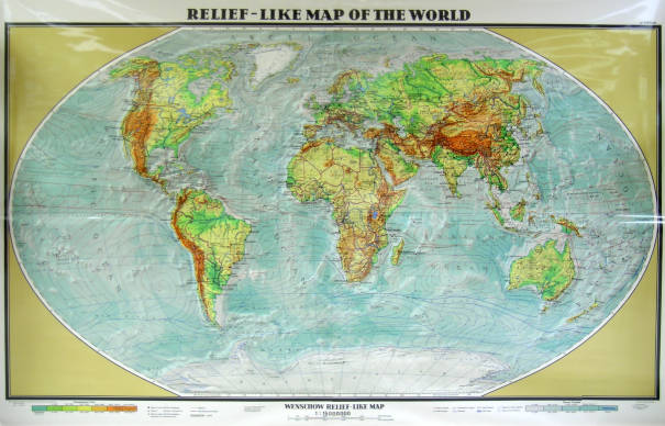 Relief Like Map of the World   AGSL Wall Map Collection   UWM     Relief Like Map of the World