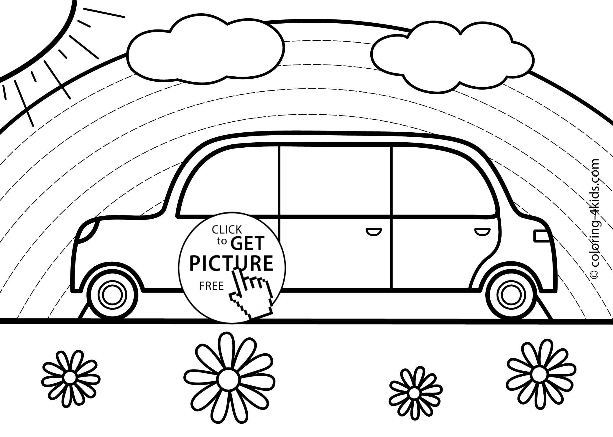 Rainbow Car Transportation Coloring Pages For Kids Printable
