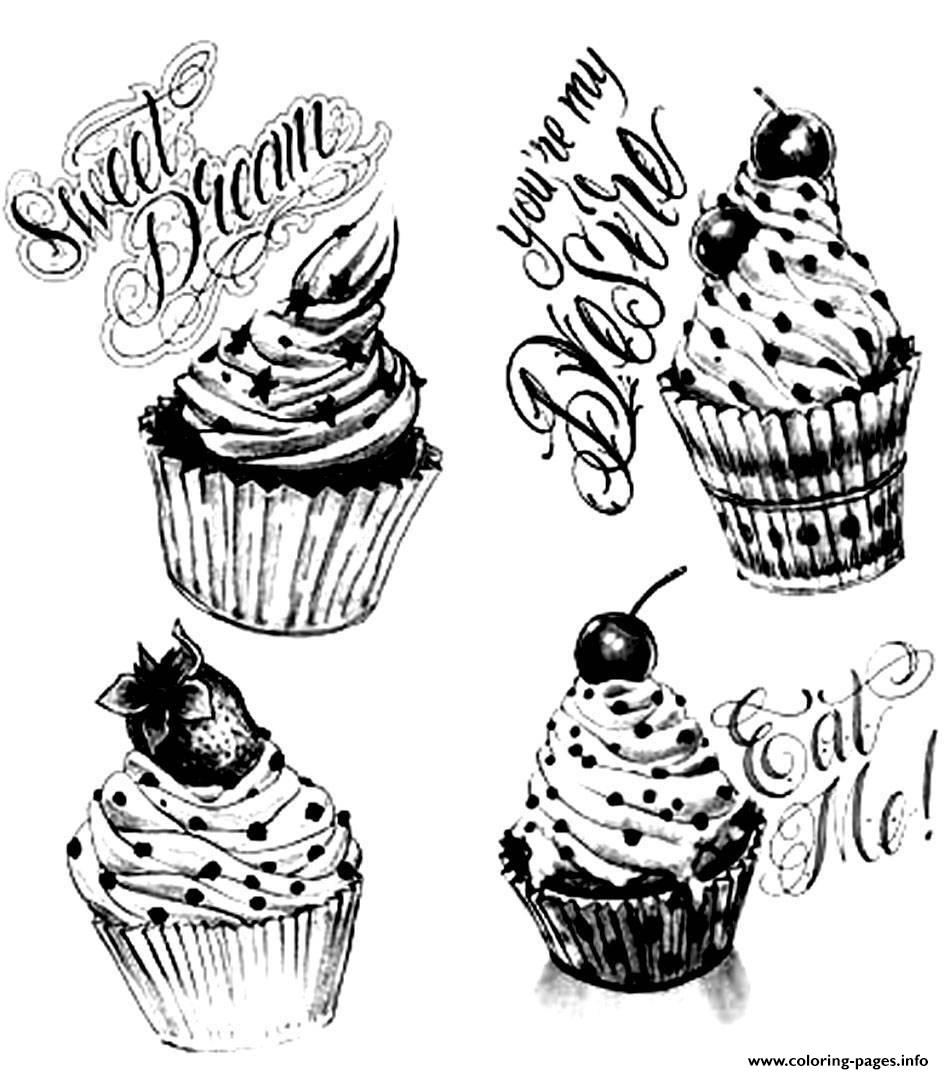 Adult Cupcakes Vintage Coloring Pages Printable