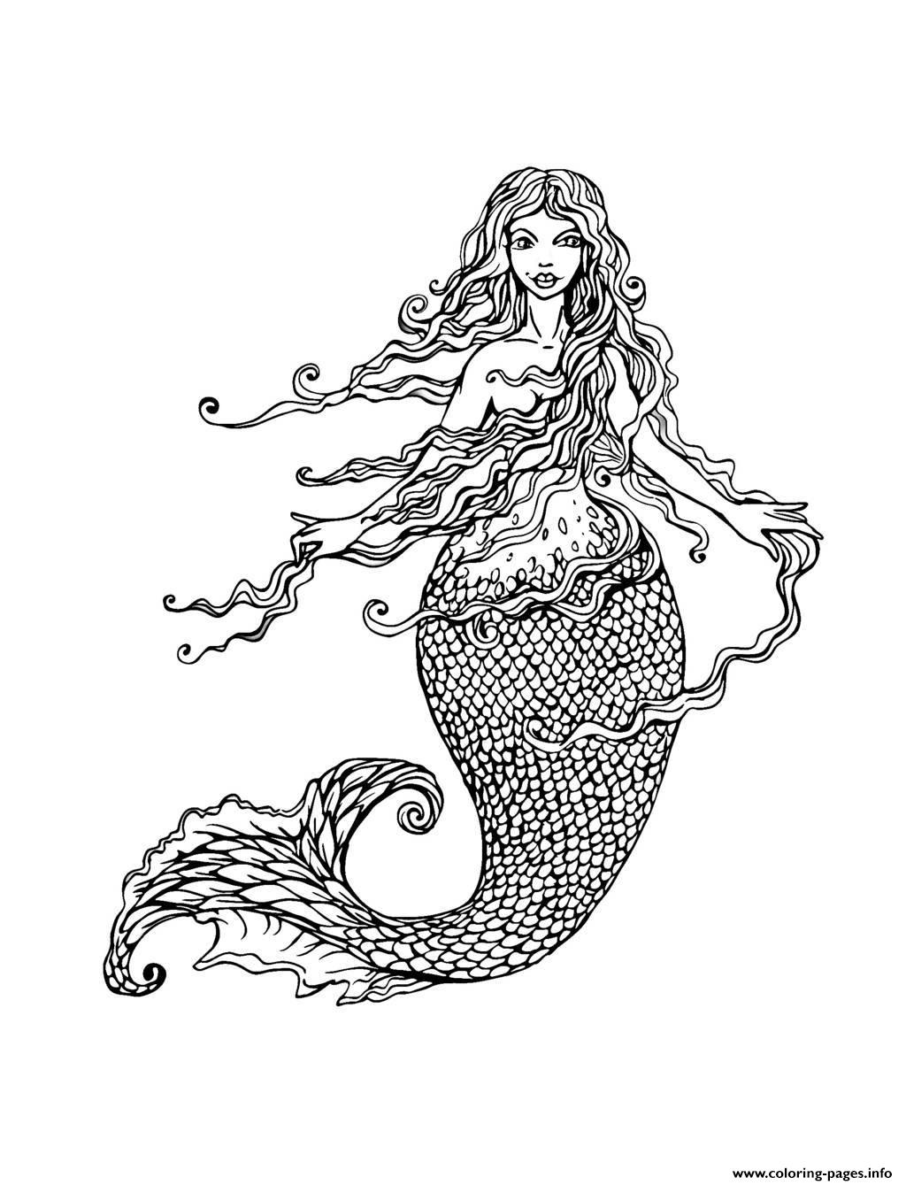 Adult Mermaid With Long Hair By Lian2011 Coloring Pages Printable