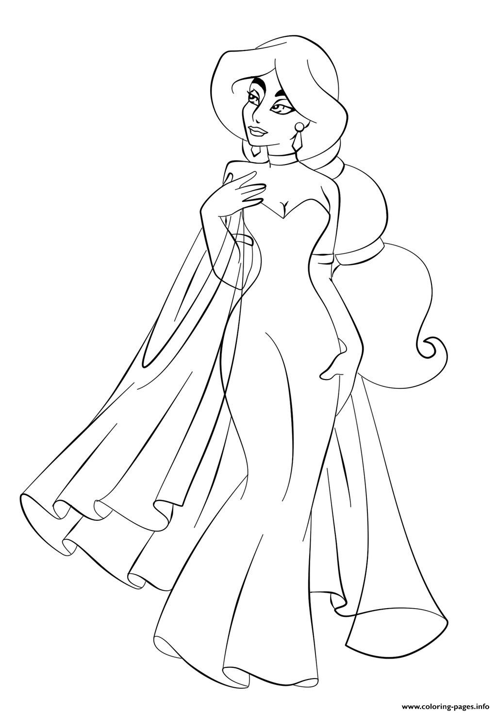 Jasmine In Wedding Dress Disney Princess S6993 Coloring Pages