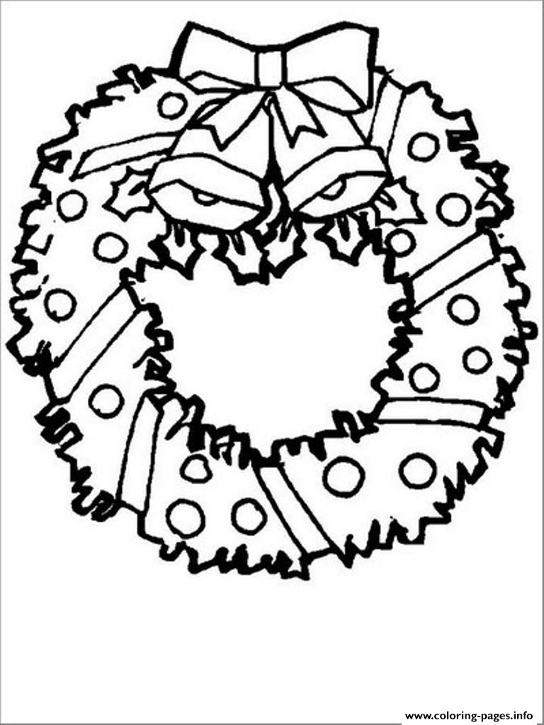 Free S For Christmas Wreath For Preschool5c12 Coloring Pages Printable