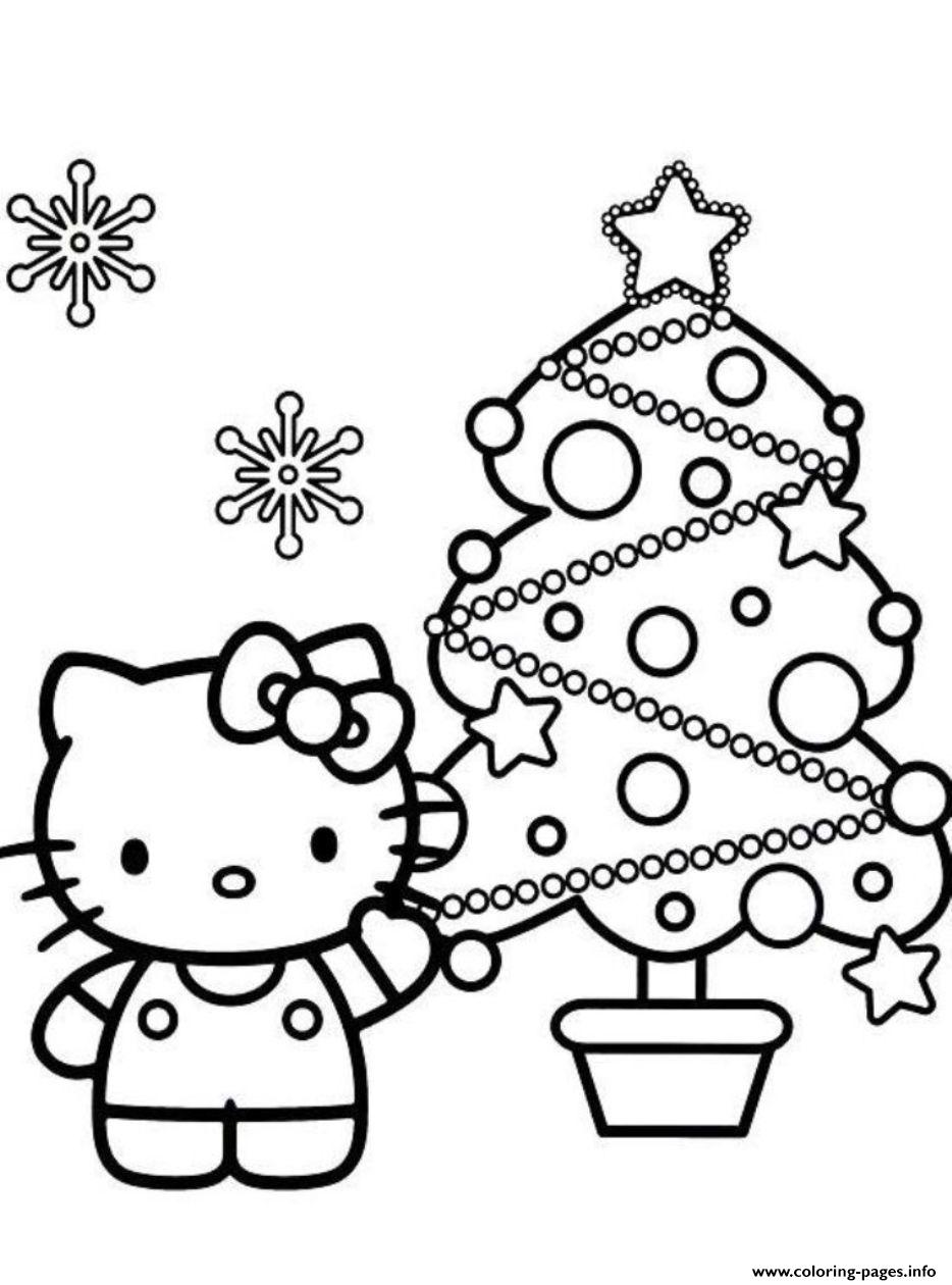 Hello Kitty S Christmas Tree30e5 Coloring Pages Printable