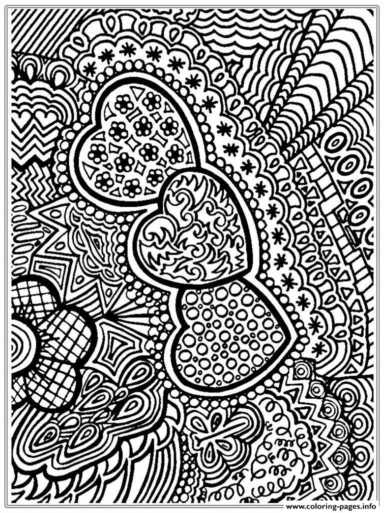 Flower And Heart Adult Free 2016 Coloring Pages Printable