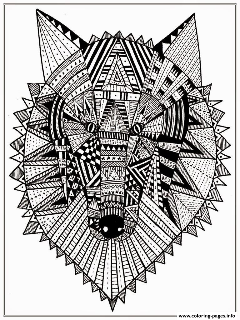 Wolf Head Mandala Adult Coloring Pages Printable