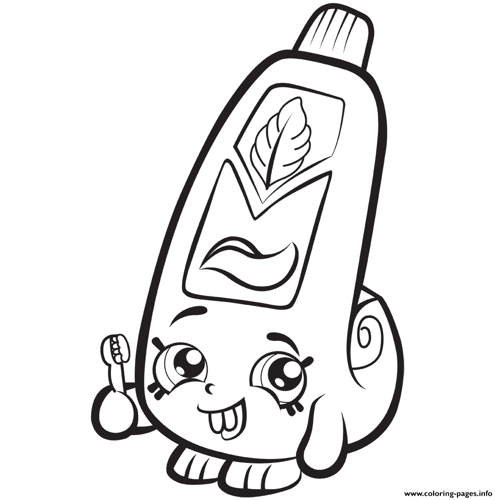 Cartoon Toothpaste Shopkins Season 1 Coloring Pages Printable