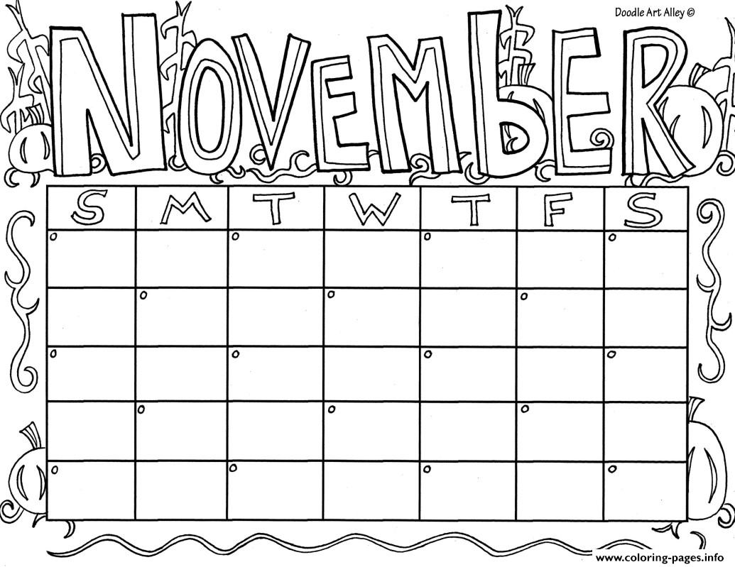 November Calendar Coloring Page Coloring Page