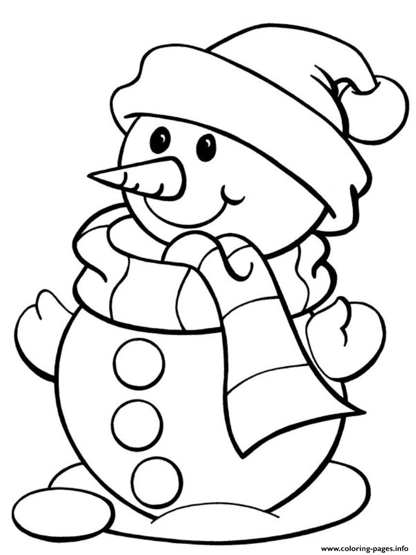 Christmas Winter Snowman And Scarf16a9 Coloring Pages Printable