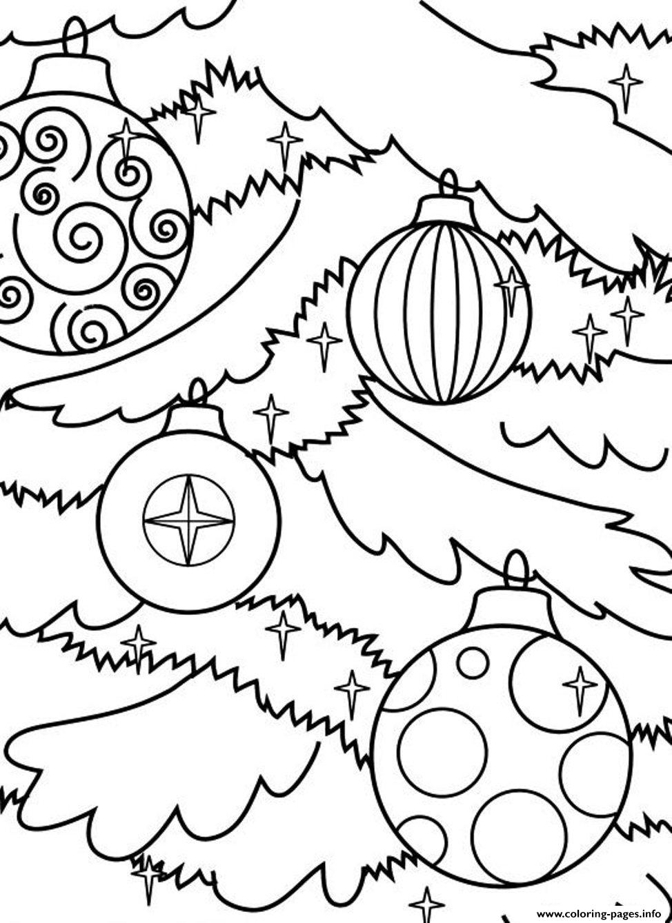 Christmas Tree Ornaments Coloring Pages Printable