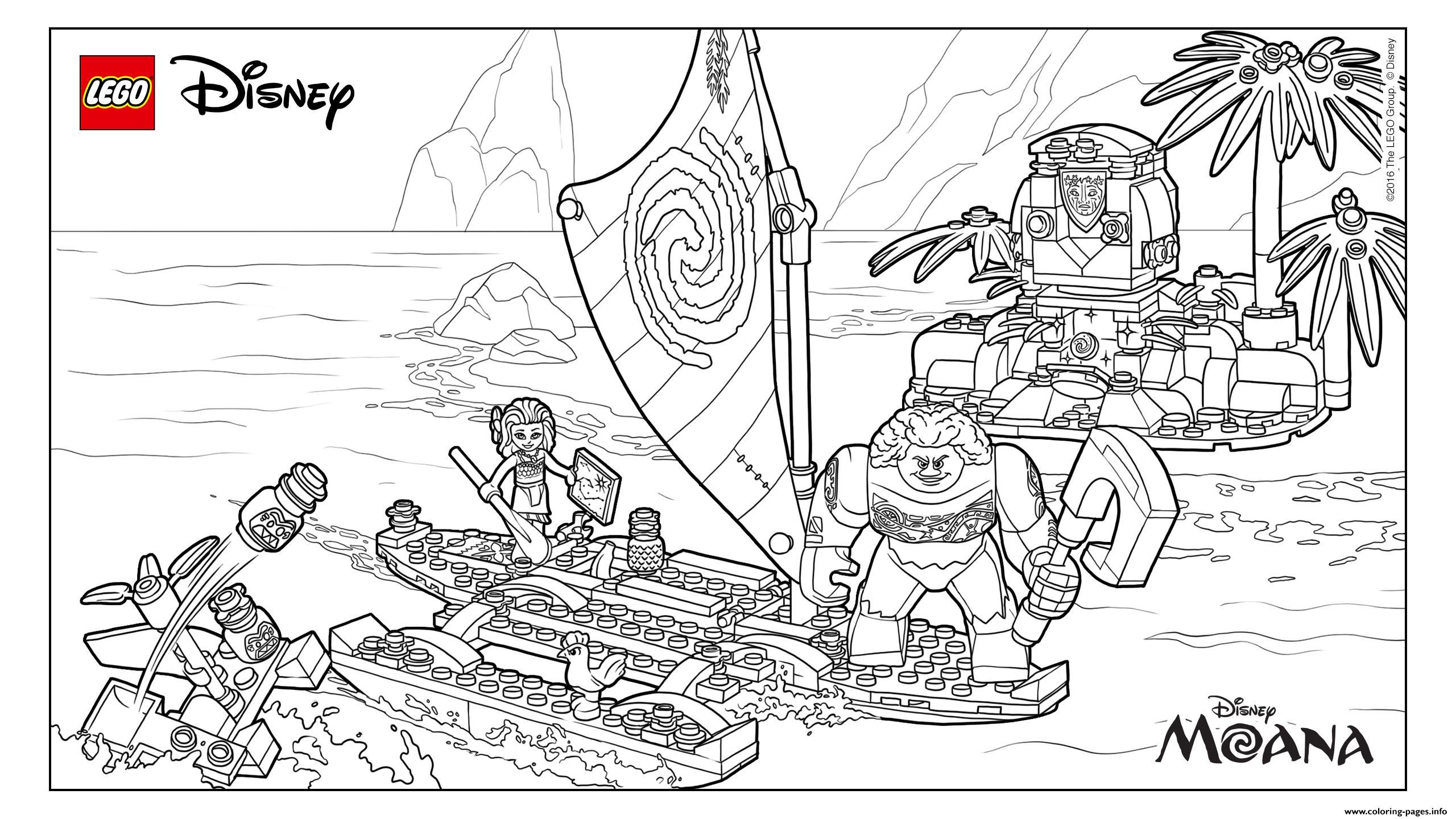 Moana Moanas Ocean Adventure Lego Disney Coloring Pages Printable