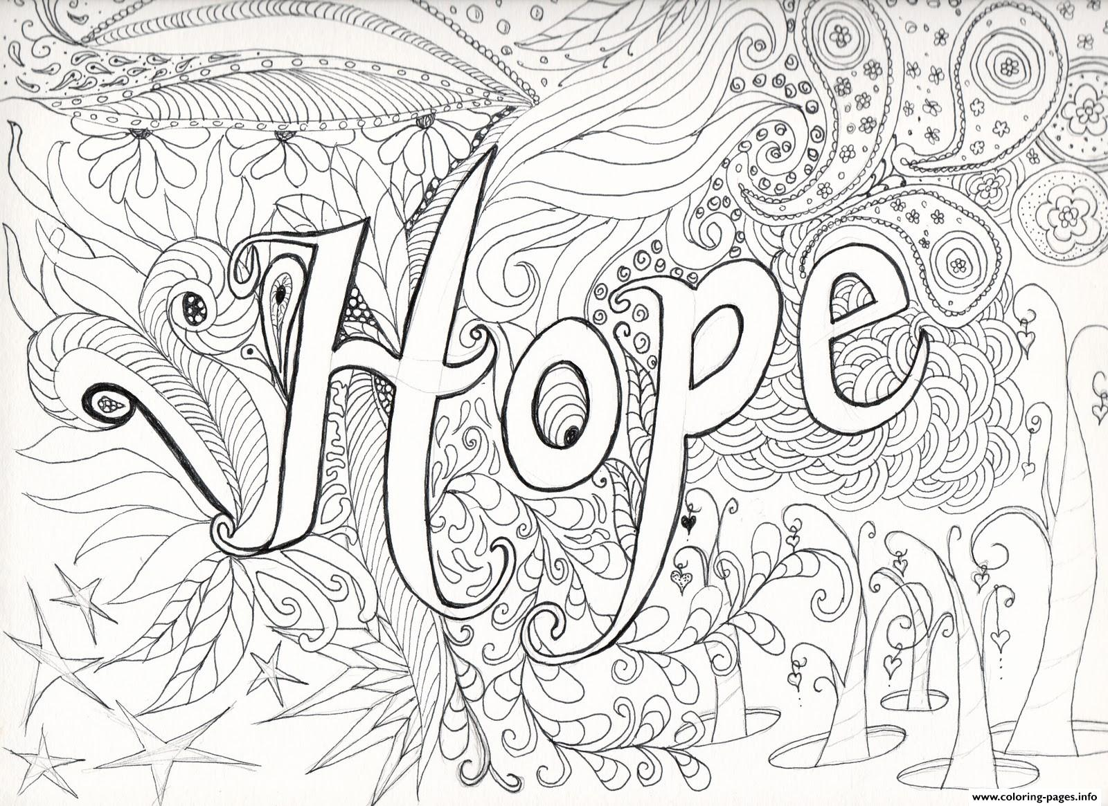 Advanced Difficult Hard Hope Message Adult Coloring Pages Printable
