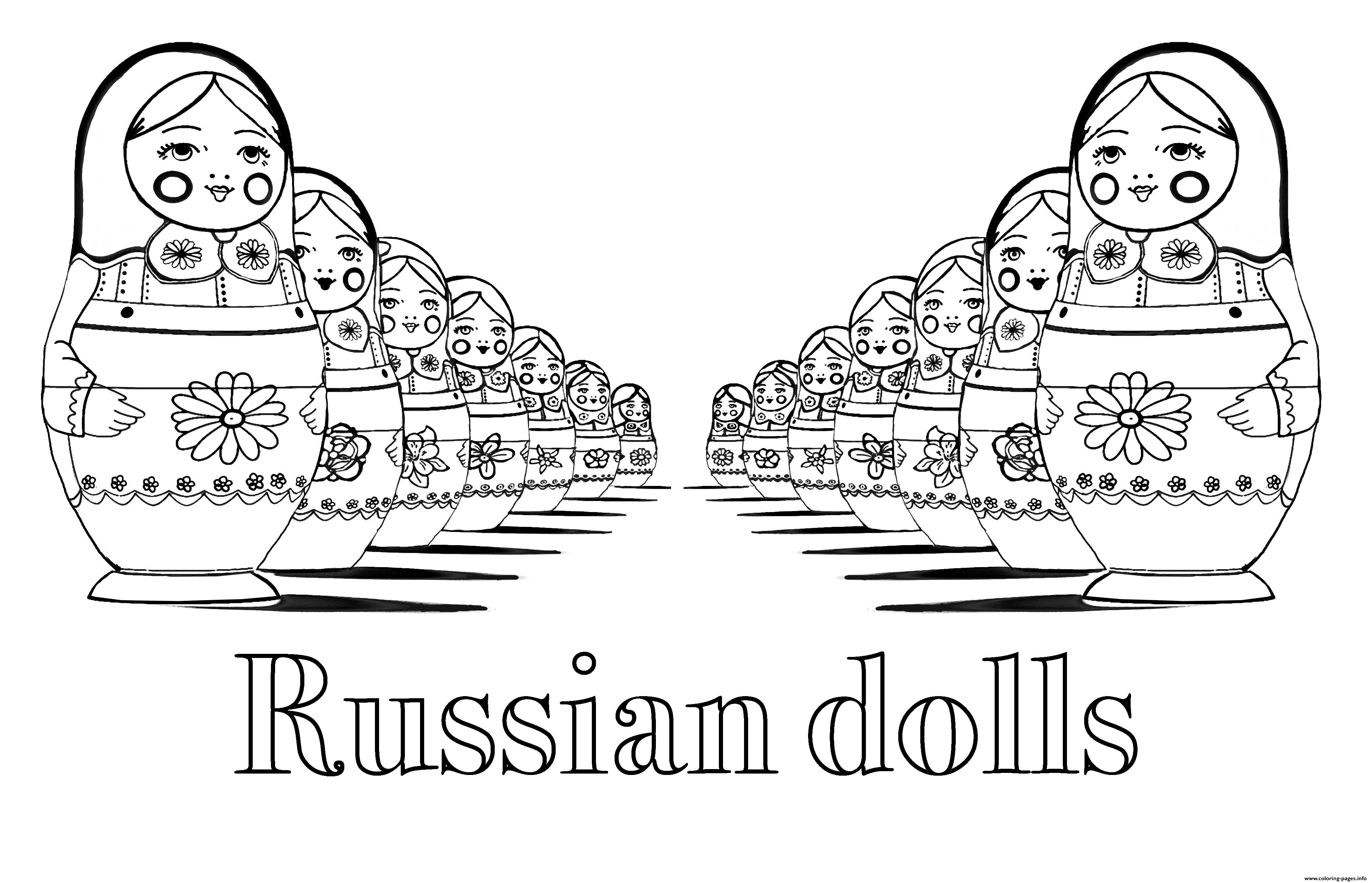 Adult Russian Dolls Perspective Double With Text Coloring Pages