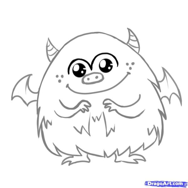 cute monster coloring pages # 3