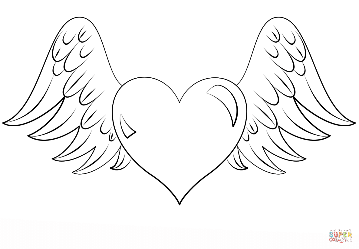 Heart With Wings Coloring Page Free Printable Coloring Pages