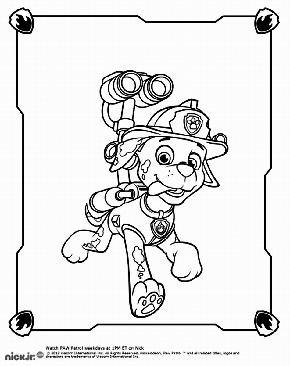 Marshall Paw Patrol Coloring Pages Coloring Home