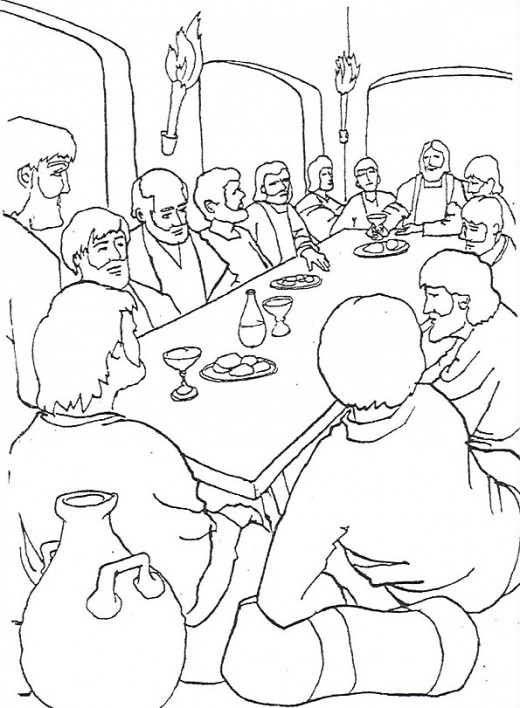 the last supper coloring page # 19