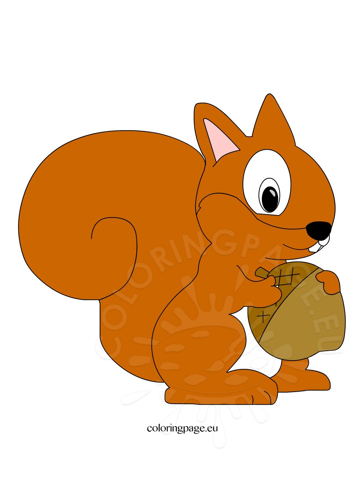 Cute Squirrel Clipart Coloring Page