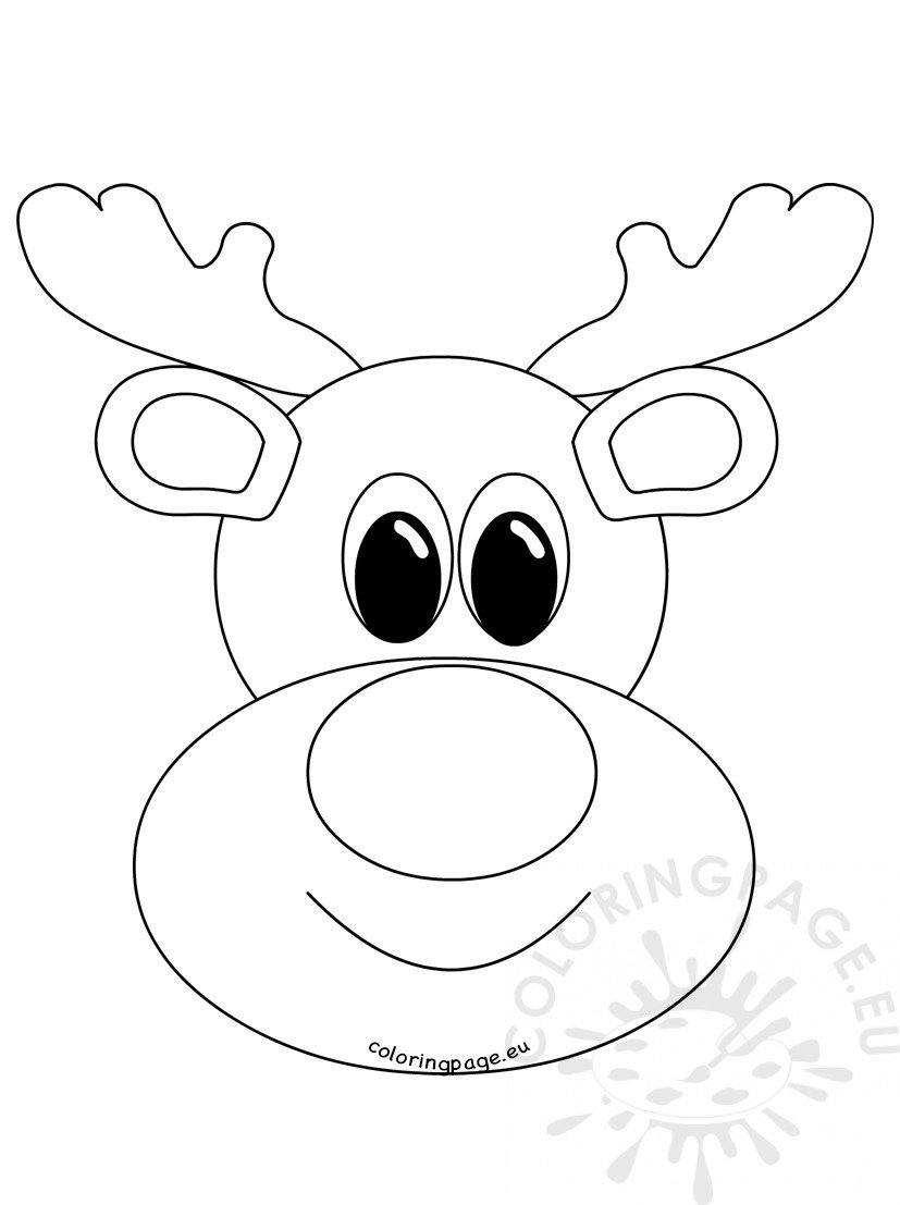 Rudolph Reindeer Face Craft Coloring Page