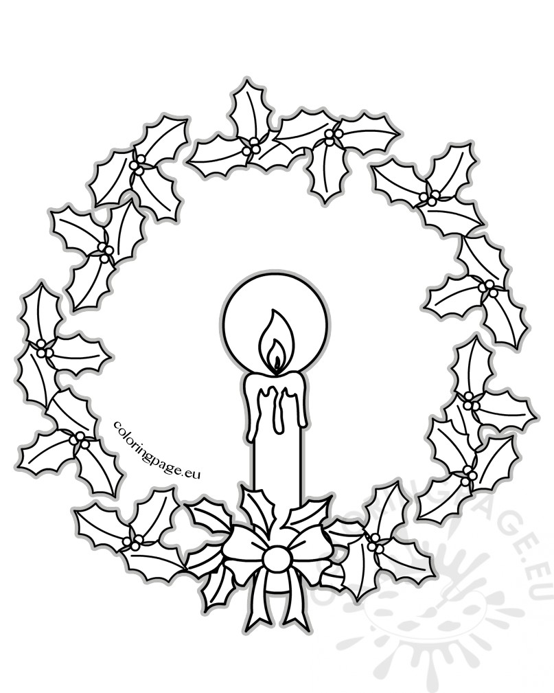 Christmas Candle And Christmas Wreath Coloring Page